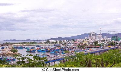 Nha Trang fishing boats. Nha Trang, Vietnam. Time lapse.