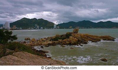 Nha Trang, Vietnam, Hon Chong rocks. Shot with slow panning