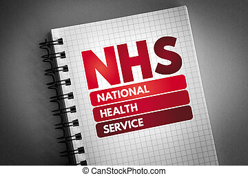 NHS - National Health Service acronym on notepad, medical concept background
