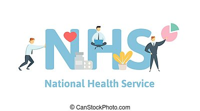 NHS, National Health Service. Concept with keywords, letters...