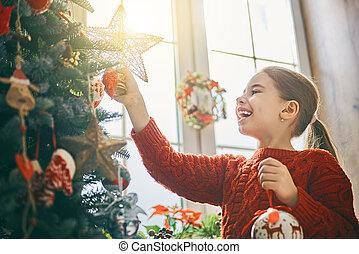 niña, árbol, decorar, navidad