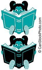 niña, 2, lectura