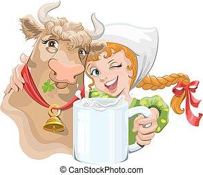 niña, abrazar, vaca