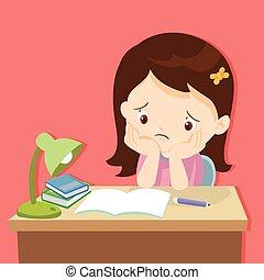 niña, aburrido, deberes, lindo
