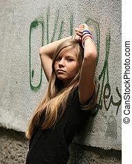niña, -, adolescente