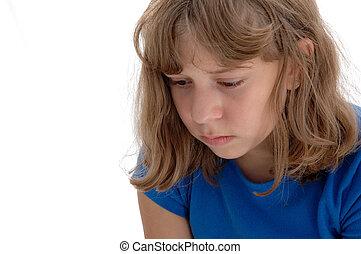 niña, adolescente, triste