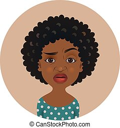 niña, afro, facial, persona, overcritical, norteamericano, escéptico, avatar., emoji., mujer, de piel oscura, expression., africano, lindo, delicado