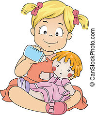 niña, alimentación, ella, muñeca