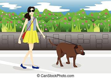 niña, ambulante, parque, perro, ella