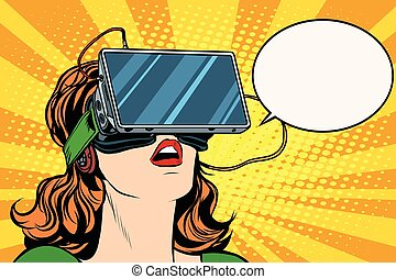 niña, anteojos, retro, realidad virtual