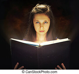 niña, apertura, el, magia, libro