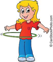 niña, aro de hula, ejercicio