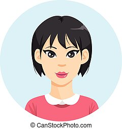 niña asiática, avatar, mujer
