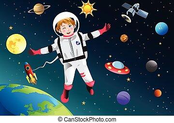 niña, astronauta, arregló