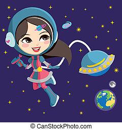 niña, astronauta, bastante