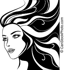niña atractiva, con, negro, pelos
