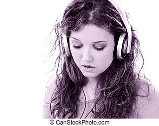 niña, auriculares, adolescente