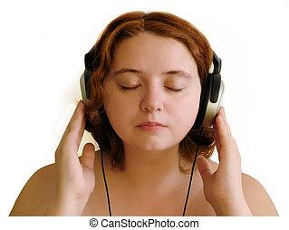 niña, auriculares