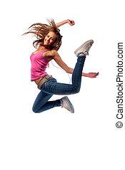 niña, auriculares, saltos