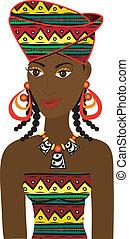 niña, avatar, africano
