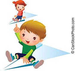 niña, avión papel, niño, vuelo