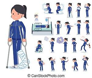 niña, azul, enfermedad, plano, jersey, tipo, escuela