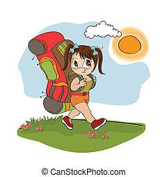 niña, backpac, viajar, turista