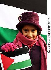 niña, bandera, palestino