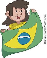 niña, bandera, tenencia, brasileño