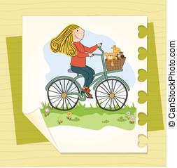 niña, bicicleta, feliz