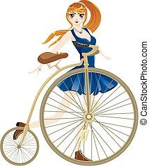 niña, bicicleta, retro
