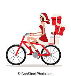 niña, bicicleta, santa