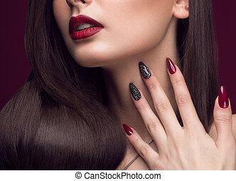 niña bonita, con, excepcional, peinado, brillante, maquillaje, labios rojos, y, manicura, design., belleza, face., arte, nails.