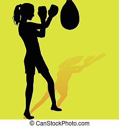 niña, boxeador, silueta