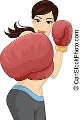niña, boxeo, puñetazo