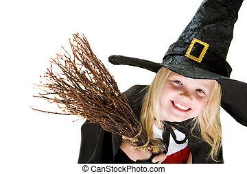 niña, bruja, disfraz
