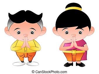 niña, burbuja, cabeza, tailandés, niño, llamado, saludo, ...