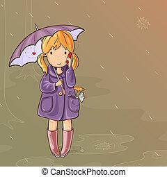 niña, célula, hablar, debajo, teléfono, paraguas