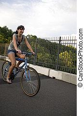 niña, cabalgar bicicleta