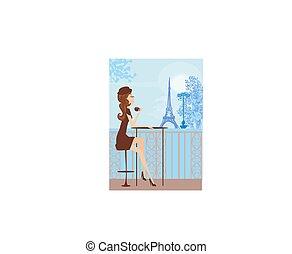 niña, café, bastante, parisiense