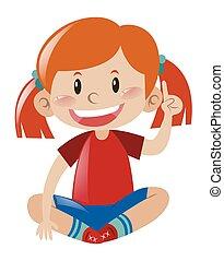 niña, camisa roja, señalar el dedo