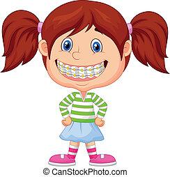niña, caricatura, con, corchetes