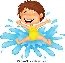 niña, caricatura, saltar, a, el, agua
