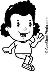 niña, caricatura, sentado