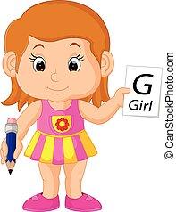 niña, carta, escritura