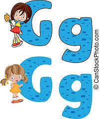 niña, carta,  G