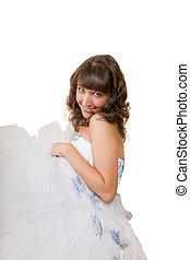 niña, cheerfu, vestido, blanco