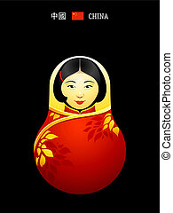 niña, china, matryoshka