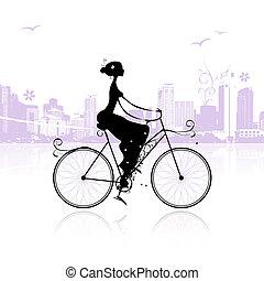 niña, ciclismo, en la ciudad