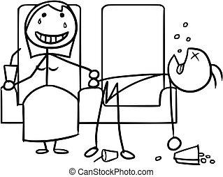 niña, cine, niño, caricatura, fecha